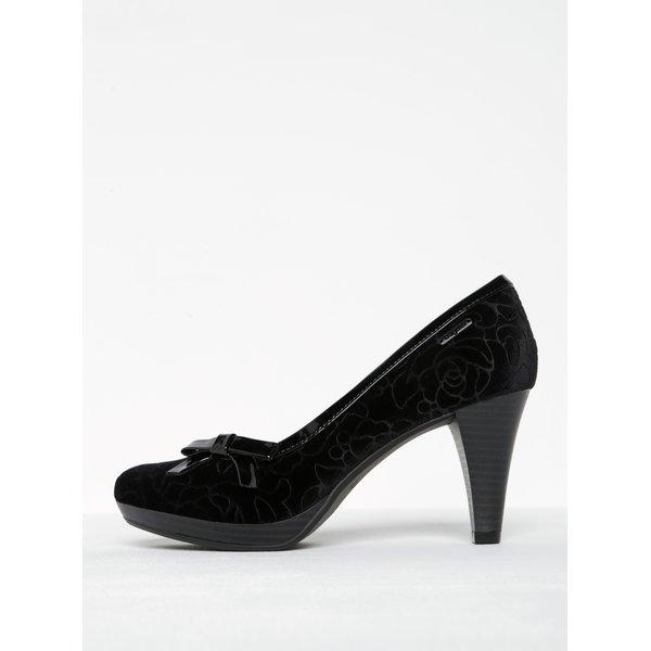 Pantofi negri cu toc și model floral în relief bugatti Isabella