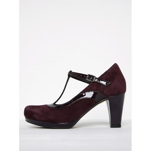 Pantofi roșu bordo din piele cu baretă Clarks Chorus Pitch