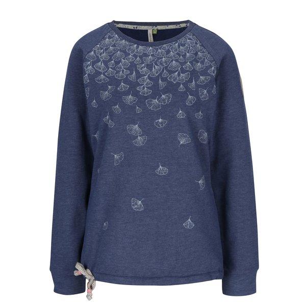 Pulover albastru cu print floral Ragwear Aval Organic