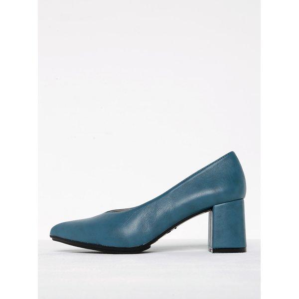 Pantofi albaștri cu toc masiv și vârf ascuțit OJJU