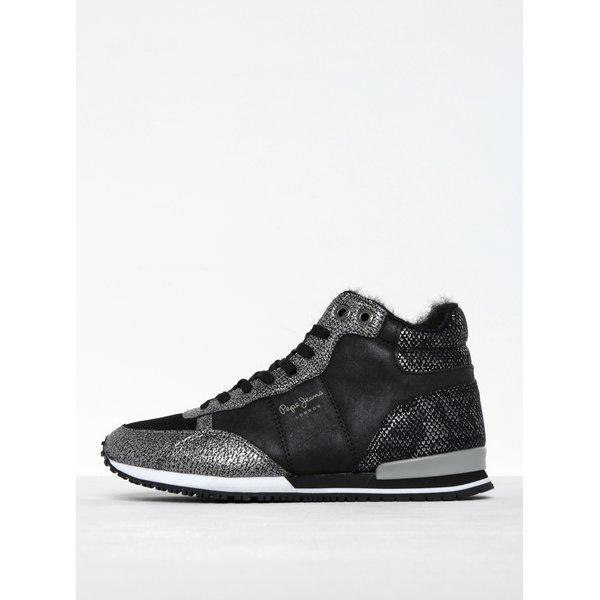 Pantofi sport tip gheată negru cu argintiu Pepe Jeans Gable Fur