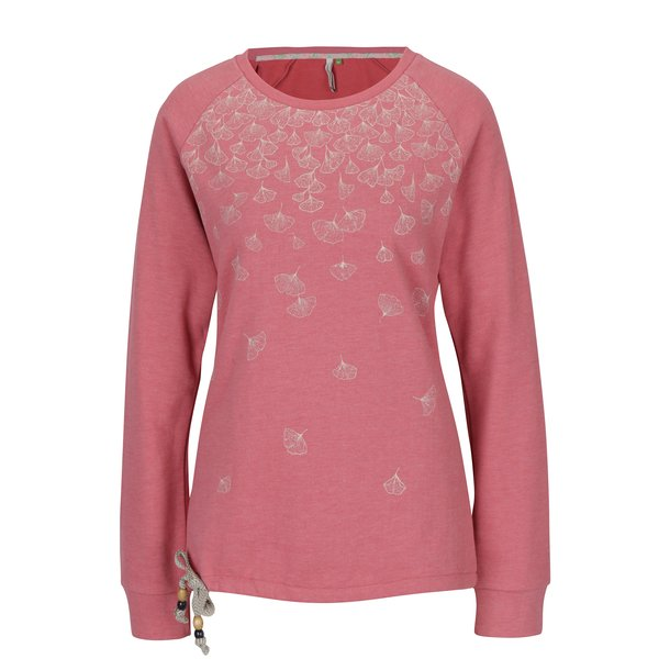 Pulover roz cu print floral Ragwear Aval Organic