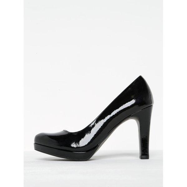 Pantofi negri lăcuiți cu toc și platformă Tamaris