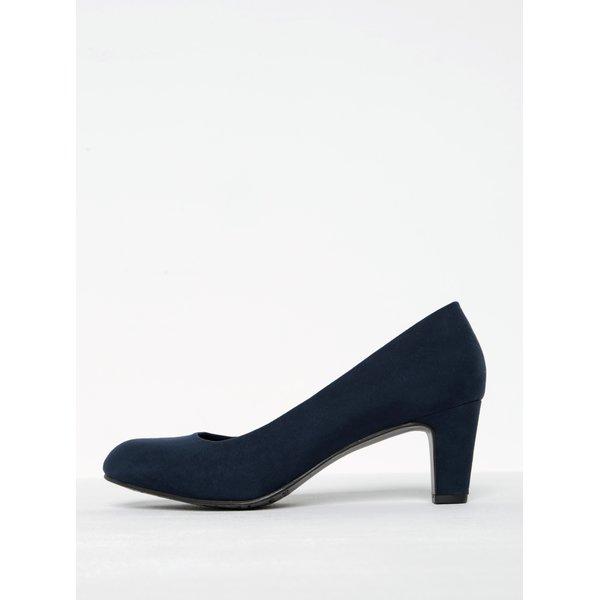 Pantofi bleumarin cu toc și aspect de piele întoarsă Tamaris