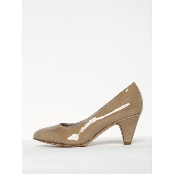 Pantofi bej lăcuiți cu toc masiv Tamaris