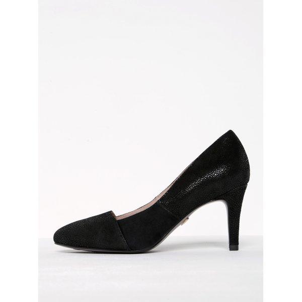 Pantofi negri din piele întoarsă cu toc cui Tamaris