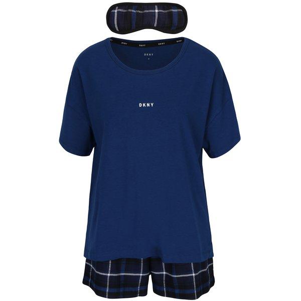 Set cadou pijama albastră si mască pentru dormit DKNY