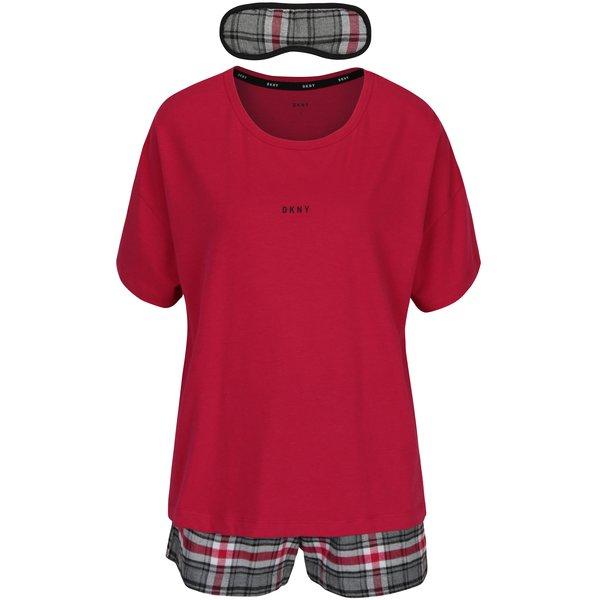 Set cadou pijama roz si mască pentru dormit DKNY