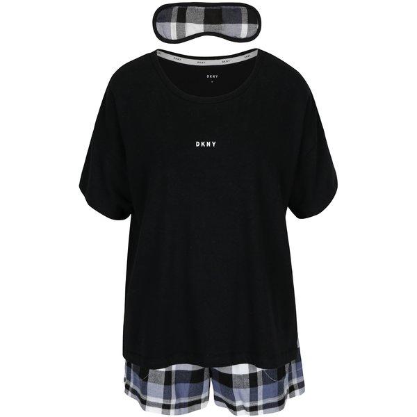 Set cadou pijama neagră si mască pentru dormit DKNY