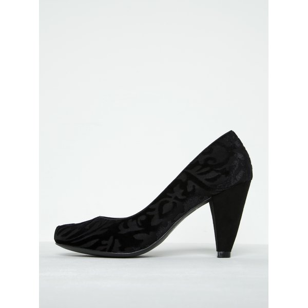 Pantofi negri cu toc conic și imprimeu floral - Ruby Shoo Leah