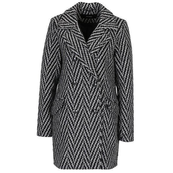 Pardesiu de iarnă gri cu negru cu model brăduț VERO MODA Paris
