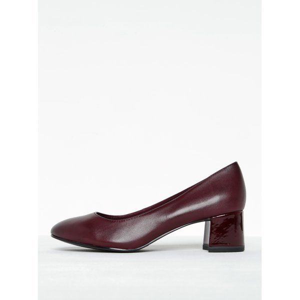 Pantofi vișinii din piele cu toc masiv Tamaris