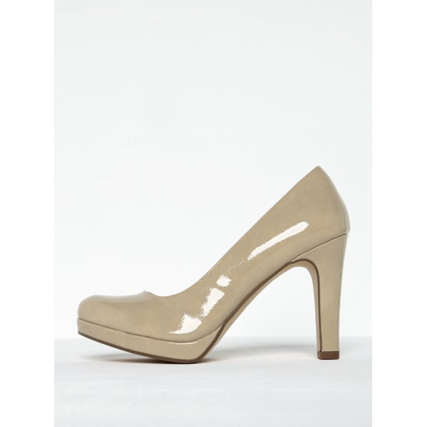 Pantofi nude lacuiti cu toc si platforma Tamaris