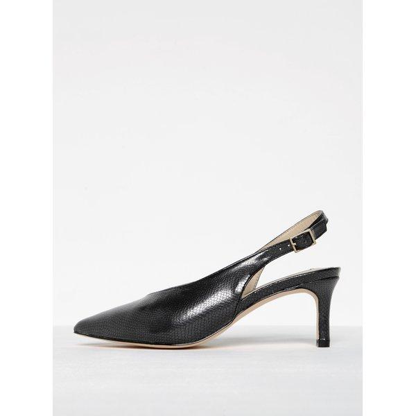 Sandale negre cu aspect piele de șarpe și toc - Miss Selfridge