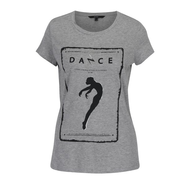 Tricou gri melanj cu print - VERO MODA Dance Studio