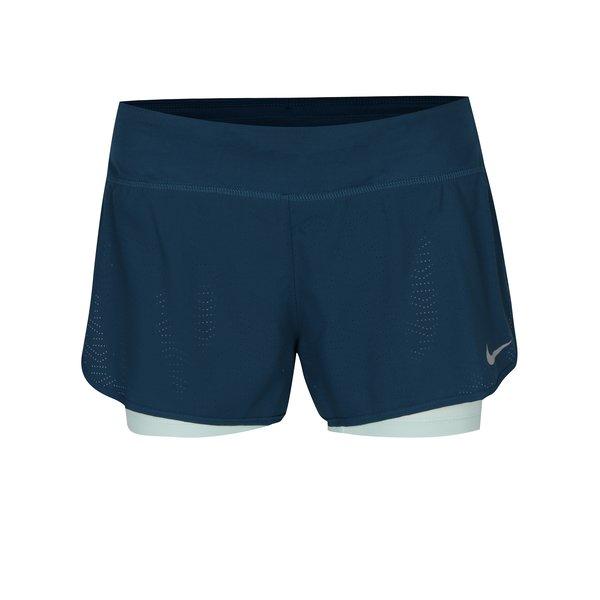 Pantaloni scurți cu perforații albastru petrol pentru femei Nike