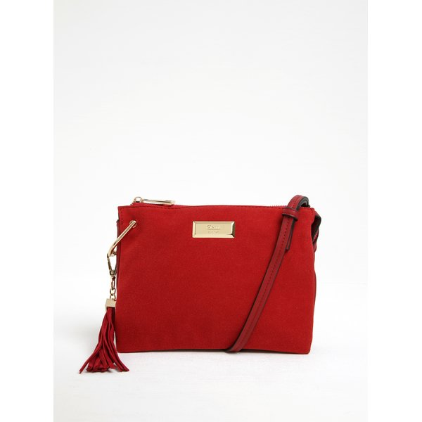 Geantă roșie crossbody cu aspect de piele întoarsă Gionni Violette