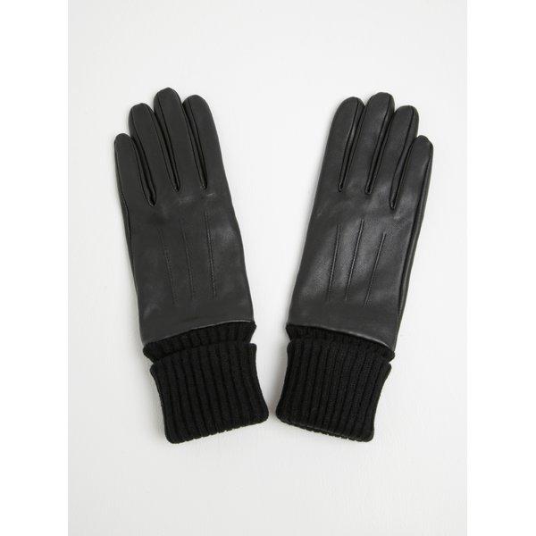 Mănuși negre din piele naturală cu aspect 2 în 1 - Pieces Jonja