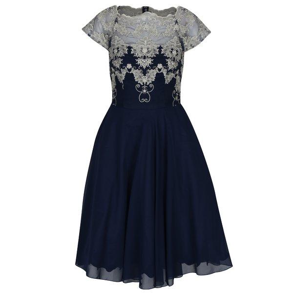 Rochie albastră cu broderie decorativă Chi Chi London Riri