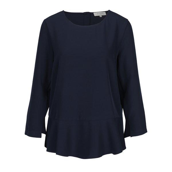 Bluză albastru închis cu volan Selected Femme Cilsa
