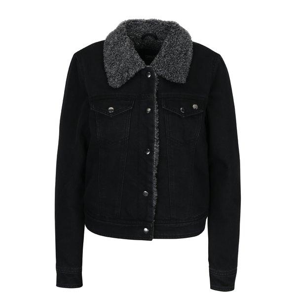 Jacheta neagra din denim cu blana ONLY Chris