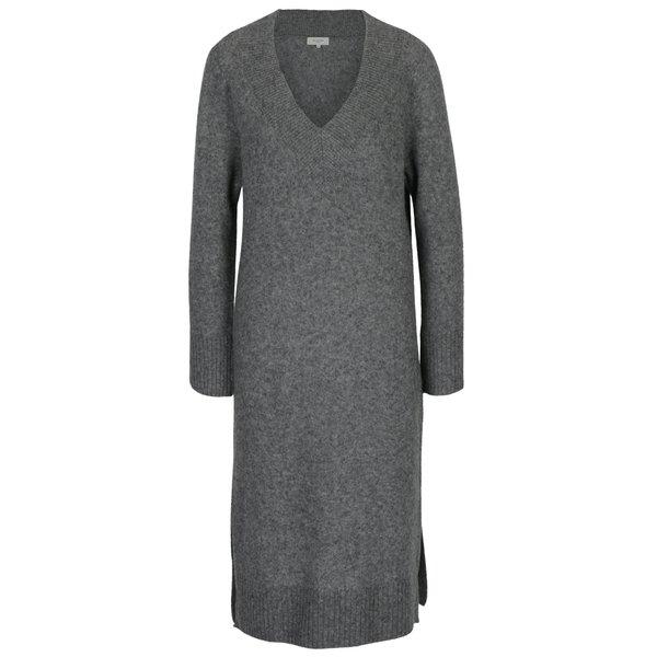 Rochie pulover gri melanj din amestec de lana - Selected Femme Jamia