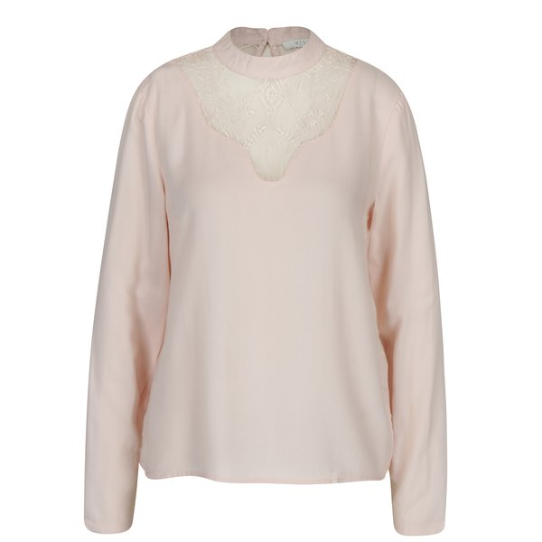 Bluză roz pal cu dantelă VILA Agnia