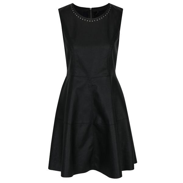 Rochie neagră din piele sintetică cu ținte ONLY Lee