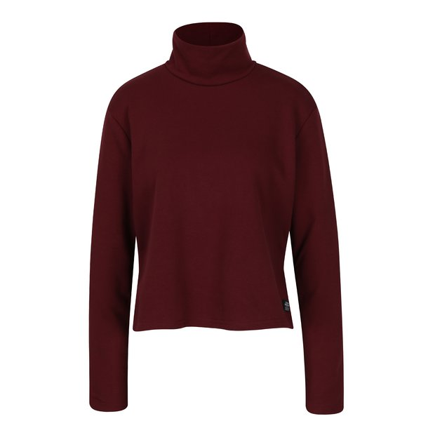 Bluză roșu bordo cu guler înalt - Cheap Monday