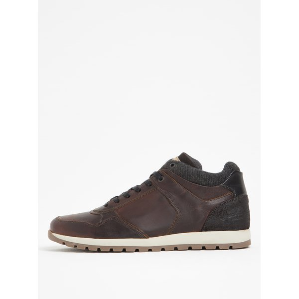 Pantofi sport gri&maro din piele Bullboxer