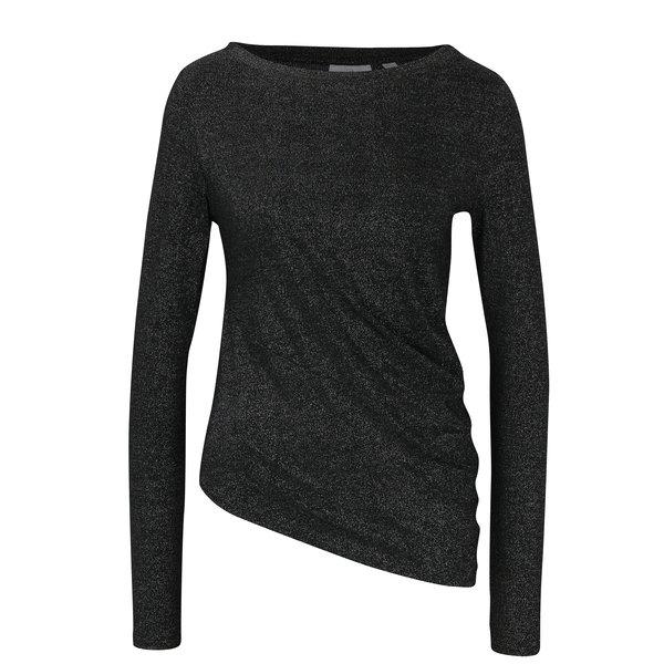 bluza neagra asimetrica cu aspect stralucitor – Cheap Monday