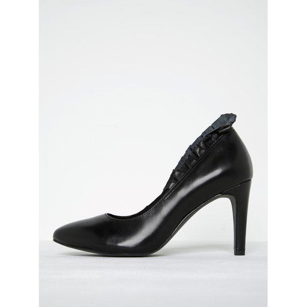 Pantofi negri din piele naturală cu toc înalt - Tamaris