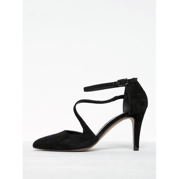 Pantofi negri din piele cu baretă în jurul gleznei Tamaris