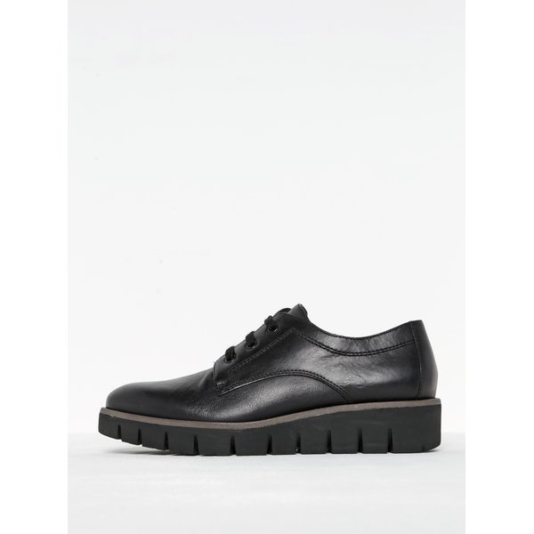 Pantofi negri din piele cu platforma si siret - Tamaris