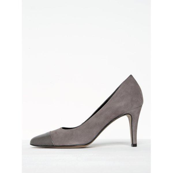 Pantofi gri din piele întoarsă cu toc Tamaris