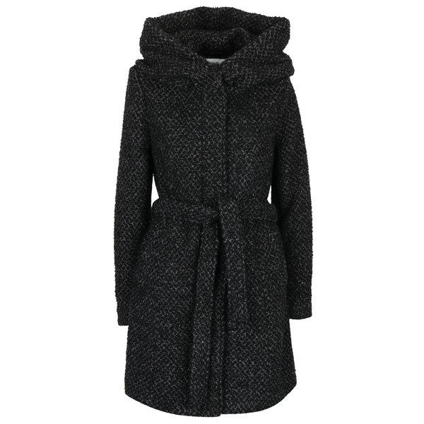Palton de iarnă negru & gri melanj cu glugă supradimensionată- VILA Cama