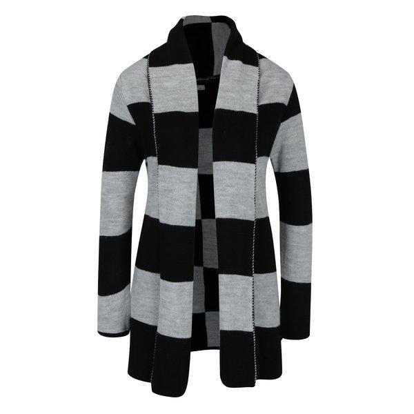 Cardigan în dungi gri cu negru cu guler șal Haily´s Enni