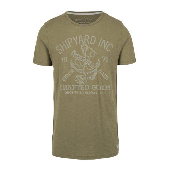 Tricou verde cu print Jack & Jones Haden