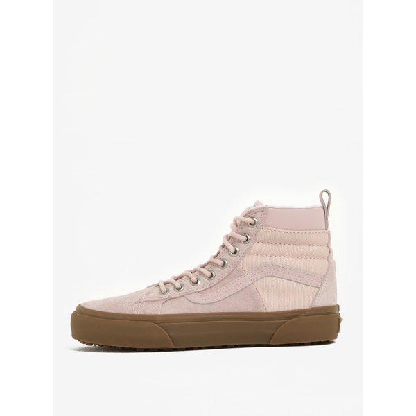 Pantofi sport înalți din piele întoarsă roz pentru femei - VANS SK8-Hi 46
