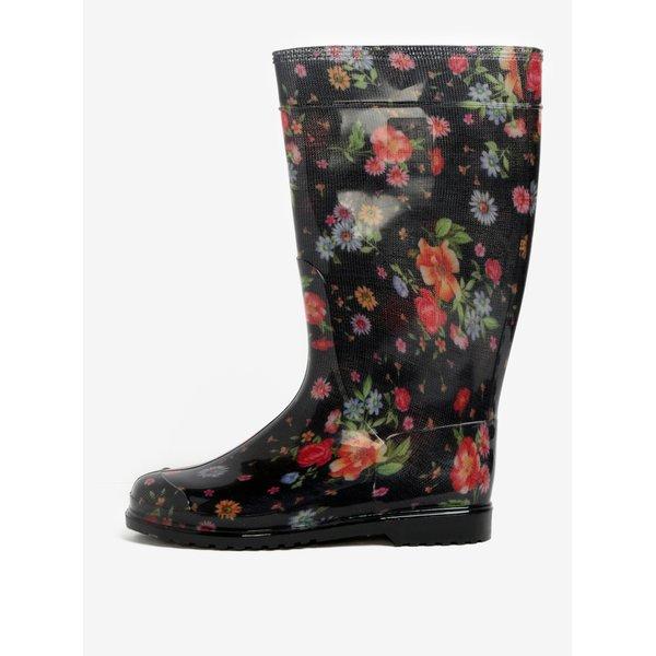 Cizme negre de ploaie cu imprimeu floral - Oldcom Rain