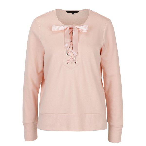 Bluză roz piersică cu fundă și șlițuri VERO MODA Tieme