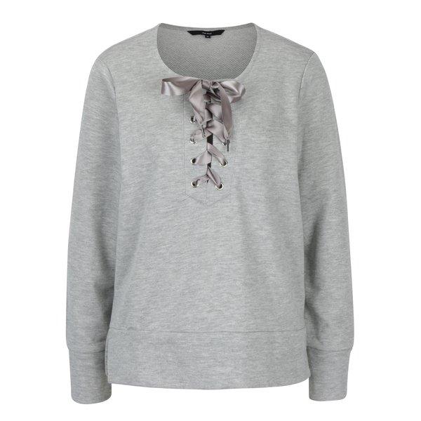 Bluză gri melanj cu fundă și șlițuri VERO MODA Tieme