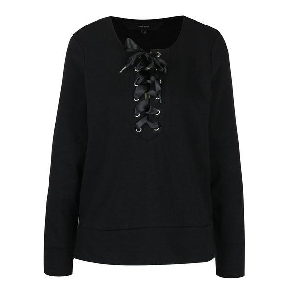Bluză neagră cu fundă și șlițuri VERO MODA Tieme