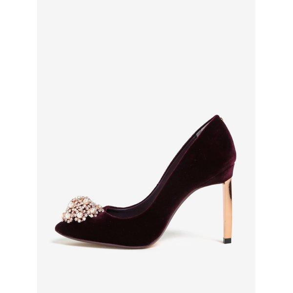 Pantofi bordo cu toc cui și aplicație decorativă din perle - Ted Baker Peetch