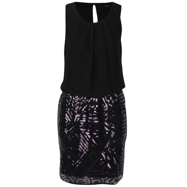 Rochie neagră cu paiete violet VERO MODA Silje