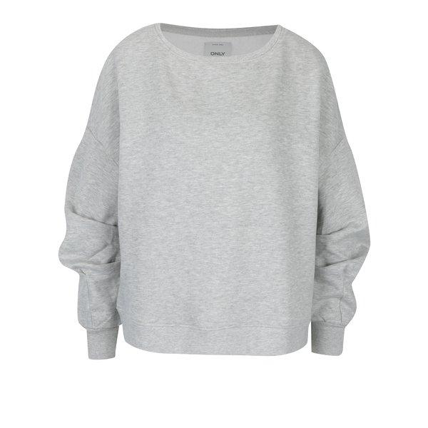 Bluză gri melanj cu mâneci drapate ONLY June