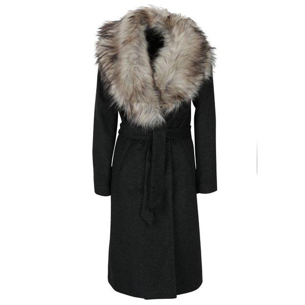 Palton cu dungi și guler de blană ONLY Lina