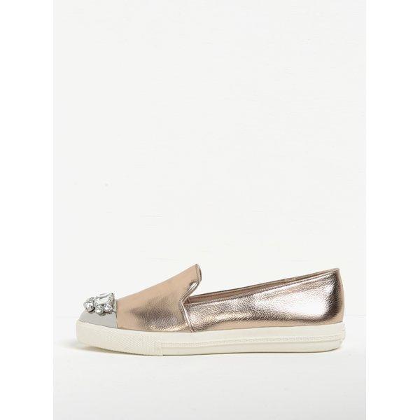 Pantofi slip on auriu rose cu decorațiuni pe vârf - Miss KG Lollie