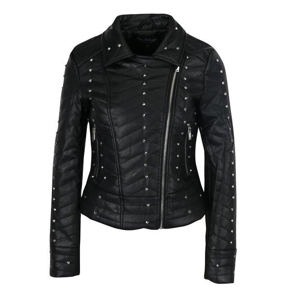 Jacheta neagra din piele artificiala cu tinte Miss Selfridge