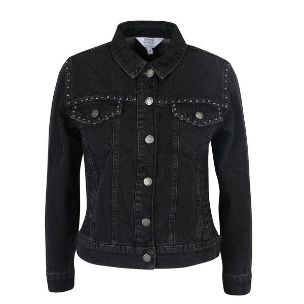 Jacheta neagra din denim cu tinte Miss Selfridge